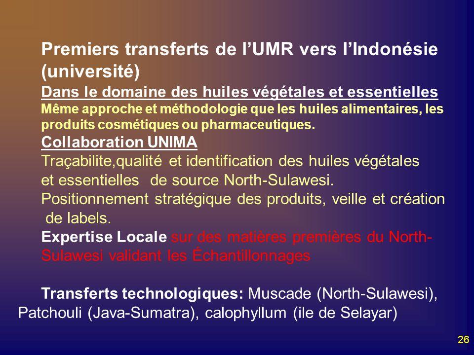 26 Premiers transferts de lUMR vers lIndonésie (université) Dans le domaine des huiles végétales et essentielles Même approche et méthodologie que les