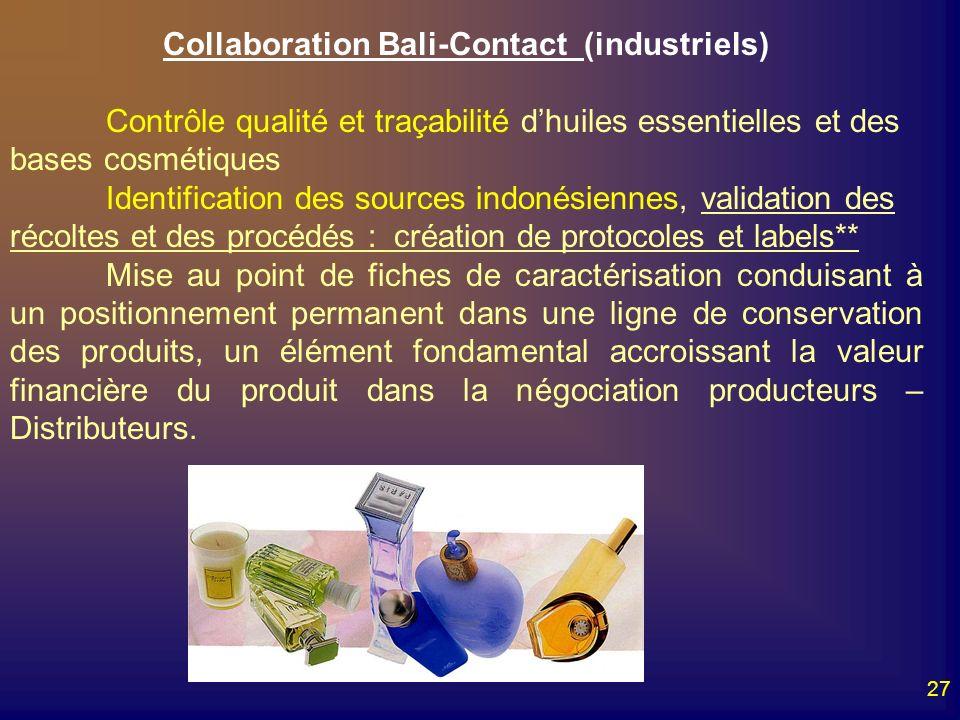 27 Collaboration Bali-Contact (industriels) Contrôle qualité et traçabilité dhuiles essentielles et des bases cosmétiques Identification des sources i