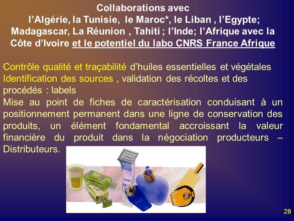 28 Collaborations avec lAlgérie, la Tunisie, le Maroc*, le Liban, lEgypte; Madagascar, La Réunion, Tahiti ; lInde; lAfrique avec la Côte dIvoire et le
