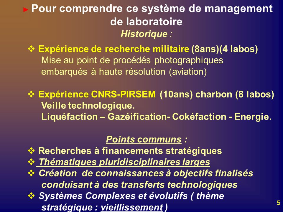 5 Pour comprendre ce système de management de laboratoire Historique : Expérience de recherche militaire (8ans)(4 labos) Mise au point de procédés pho