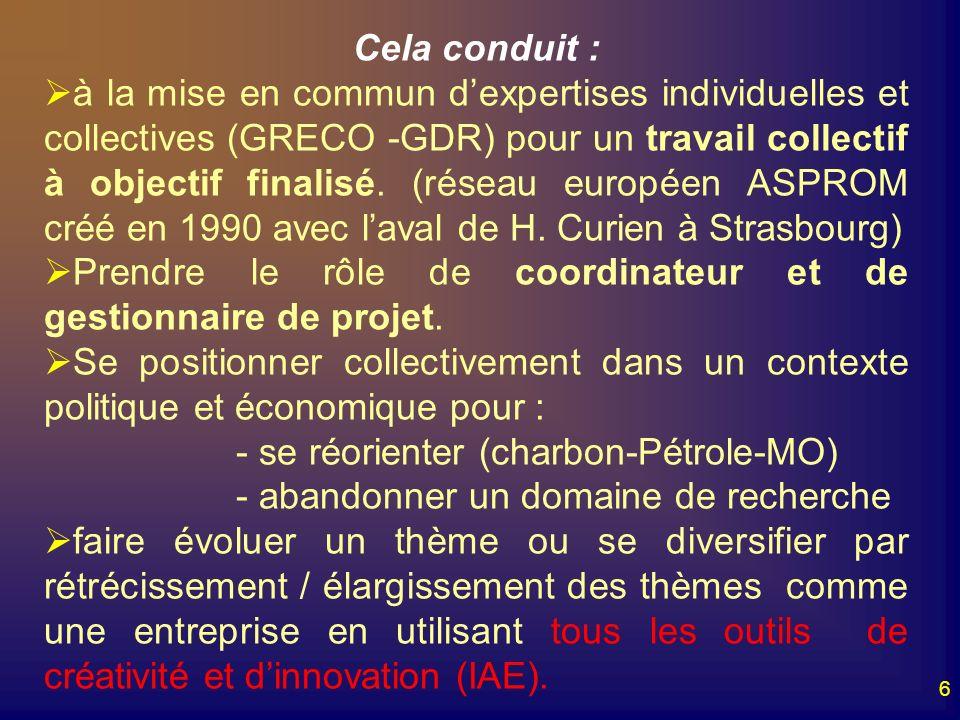 6 Cela conduit : à la mise en commun dexpertises individuelles et collectives (GRECO -GDR) pour un travail collectif à objectif finalisé. (réseau euro