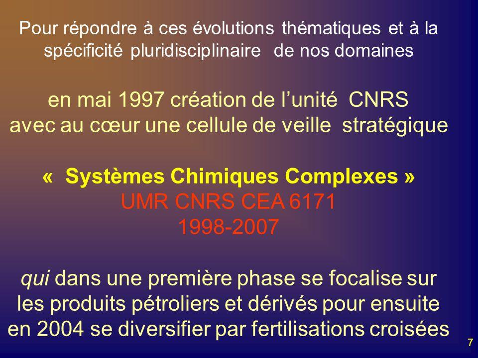 7 Pour répondre à ces évolutions thématiques et à la spécificité pluridisciplinaire de nos domaines en mai 1997 création de lunité CNRS avec au cœur u