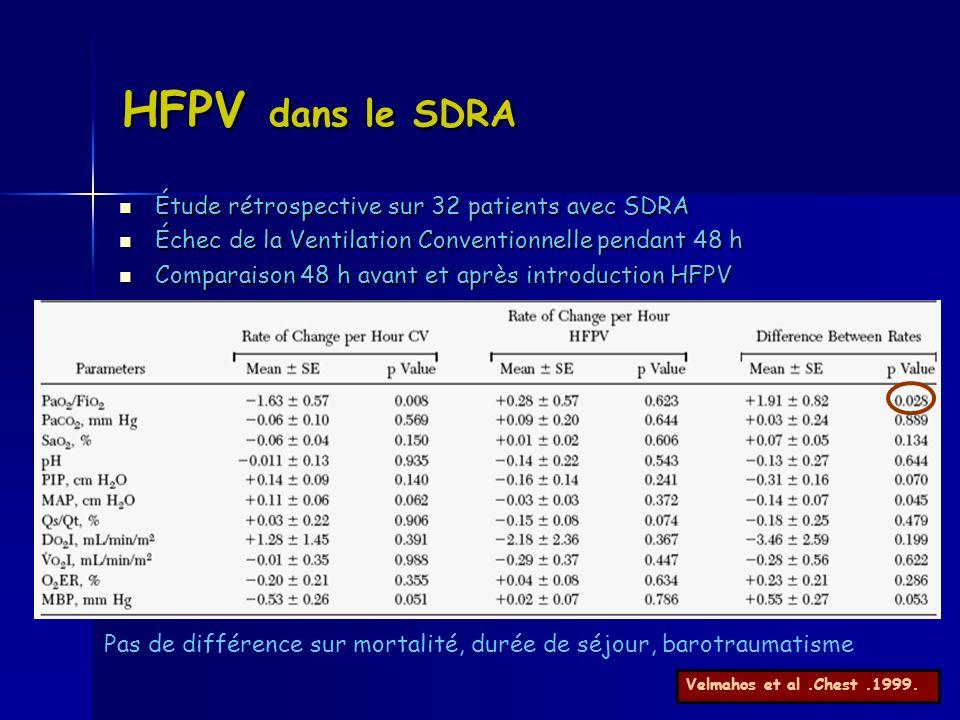 HFPV dans le SDRA Étude rétrospective sur 32 patients avec SDRA Étude rétrospective sur 32 patients avec SDRA Échec de la Ventilation Conventionnelle