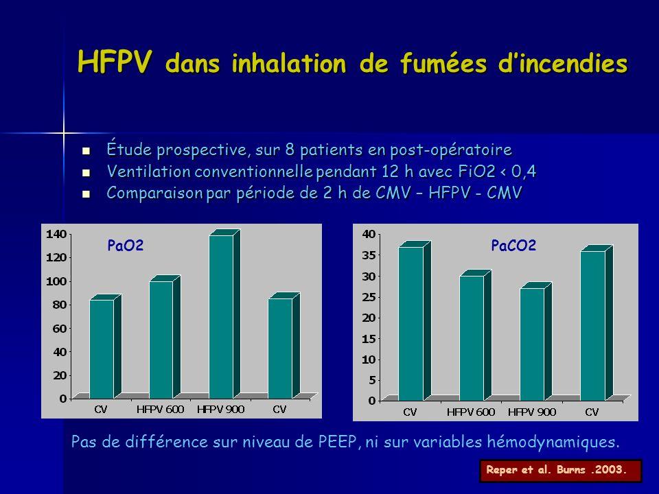 HFPV dans inhalation de fumées dincendies Étude prospective, sur 8 patients en post-opératoire Étude prospective, sur 8 patients en post-opératoire Ve