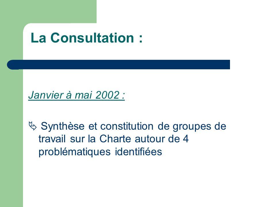 Janvier à mai 2002 : Synthèse et constitution de groupes de travail sur la Charte autour de 4 problématiques identifiées La Consultation :