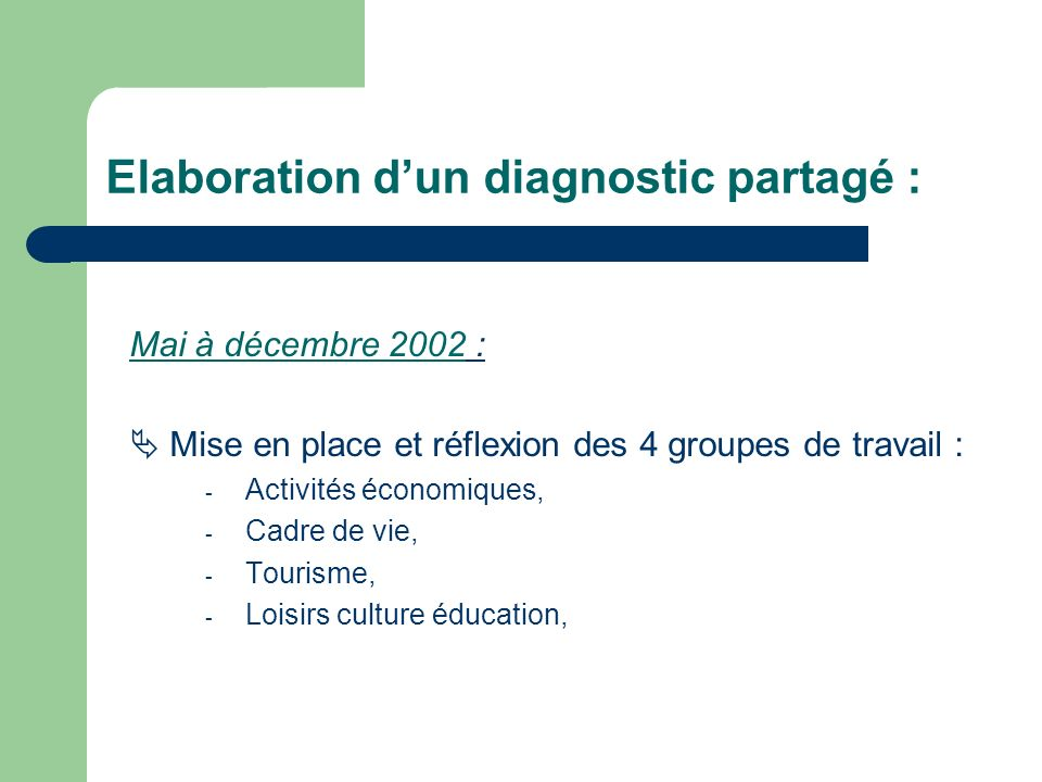 Elaboration dun diagnostic partagé : Mai à décembre 2002 : Mise en place et réflexion des 4 groupes de travail : - Activités économiques, - Cadre de vie, - Tourisme, - Loisirs culture éducation,