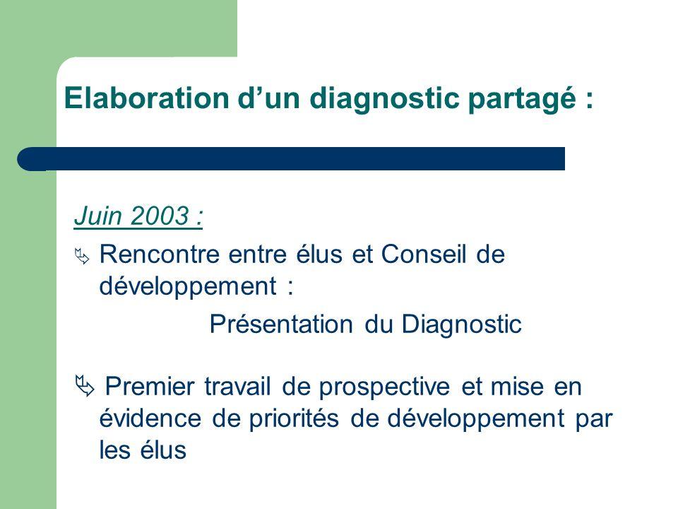 Juin 2003 : Rencontre entre élus et Conseil de développement : Présentation du Diagnostic Premier travail de prospective et mise en évidence de priorités de développement par les élus Elaboration dun diagnostic partagé :