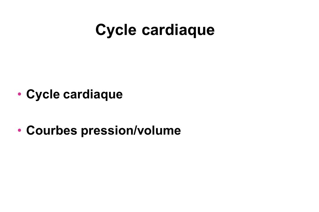 Cycle cardiaque Courbes pression/volume