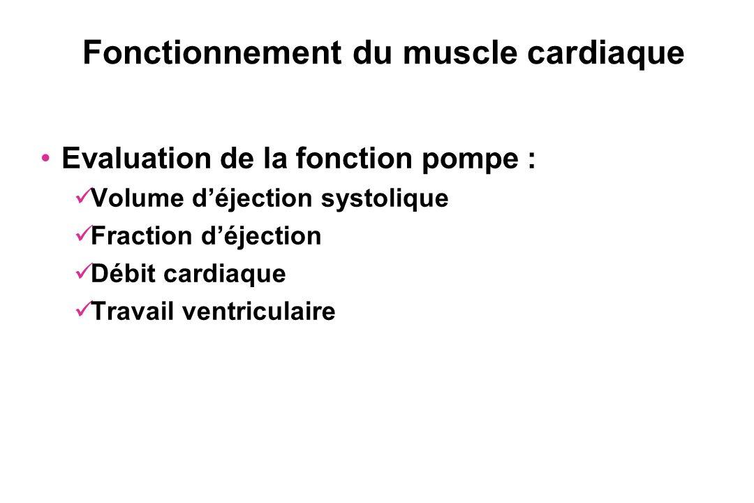 Fonctionnement du muscle cardiaque Evaluation de la fonction pompe : Volume déjection systolique Fraction déjection Débit cardiaque Travail ventricula