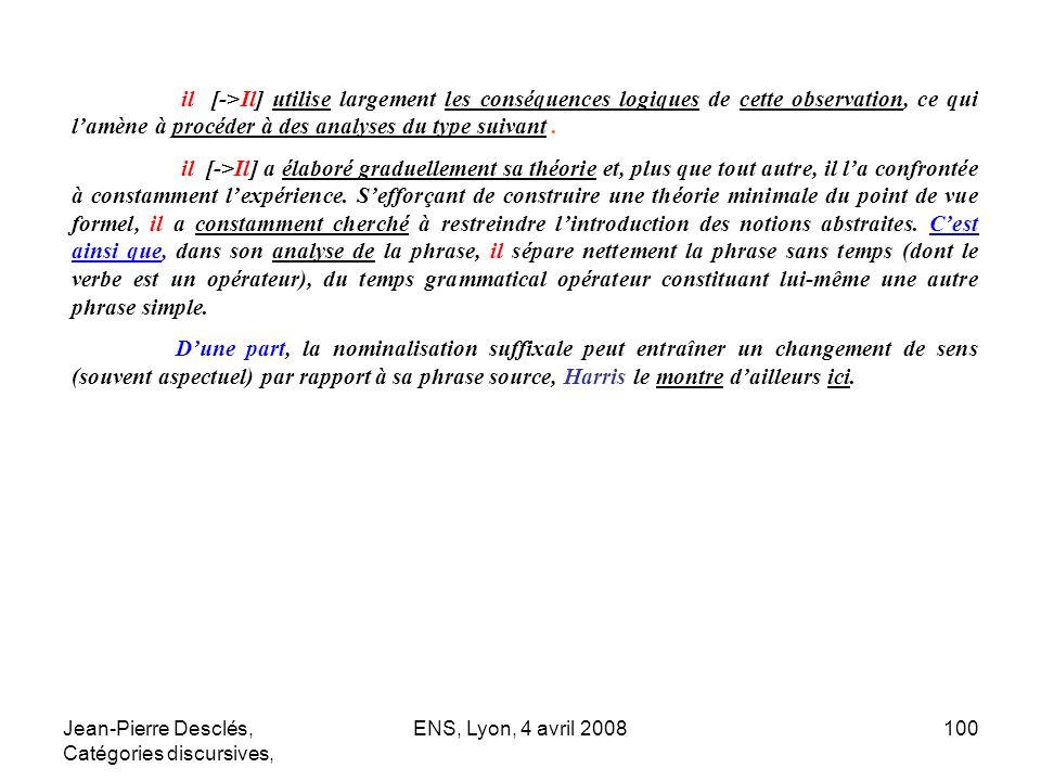 Jean-Pierre Desclés, Catégories discursives, ENS, Lyon, 4 avril 2008100 il [->Il] utilise largement les conséquences logiques de cette observation, ce