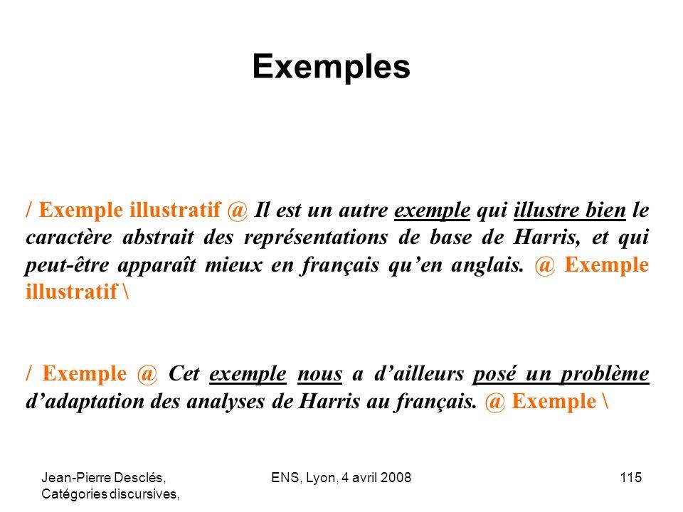 Jean-Pierre Desclés, Catégories discursives, ENS, Lyon, 4 avril 2008115 / Exemple illustratif @ Il est un autre exemple qui illustre bien le caractère