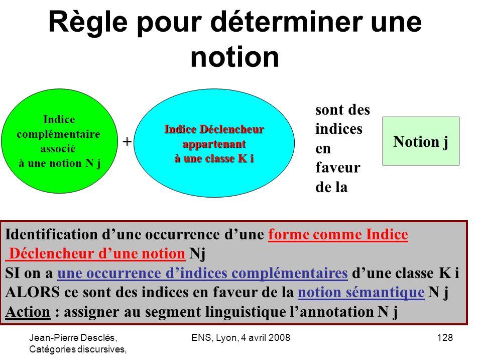 Jean-Pierre Desclés, Catégories discursives, ENS, Lyon, 4 avril 2008128 Règle pour déterminer une notion Indice complémentaire associé à une notion N