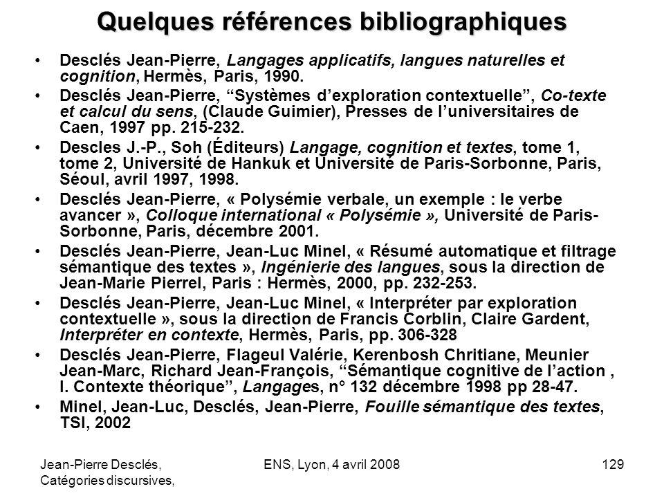 Jean-Pierre Desclés, Catégories discursives, ENS, Lyon, 4 avril 2008129 Quelques références bibliographiques Desclés Jean-Pierre, Langages applicatifs