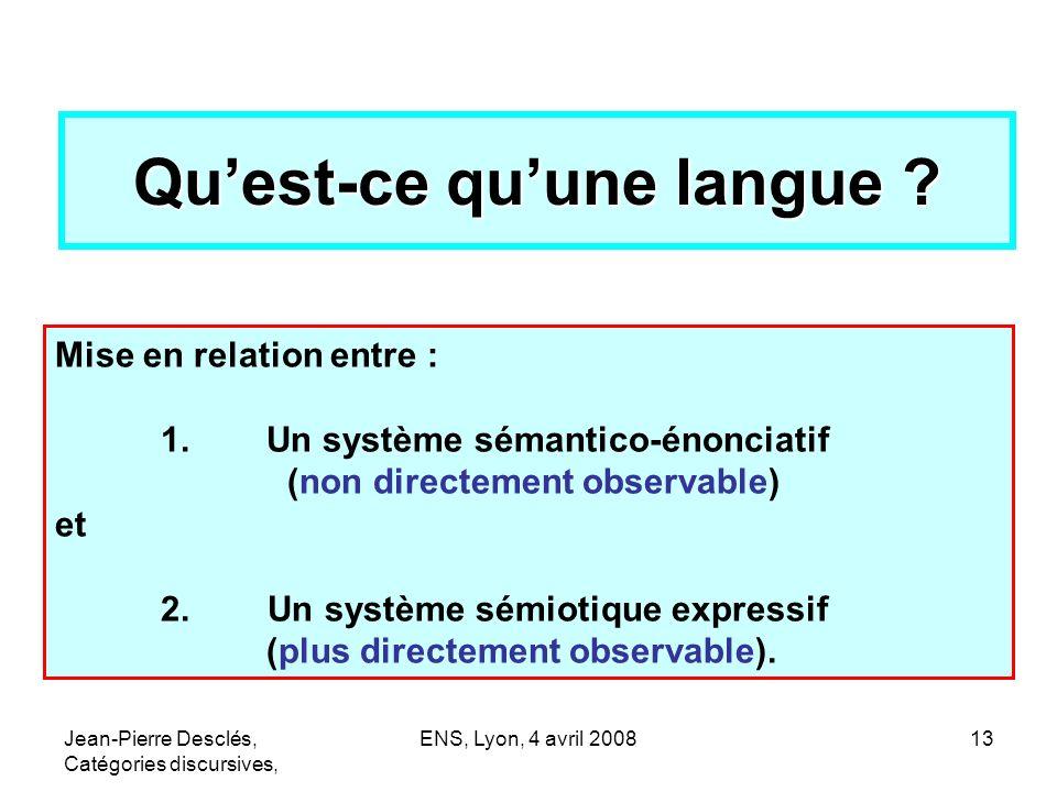 Jean-Pierre Desclés, Catégories discursives, ENS, Lyon, 4 avril 200813 Quest-ce quune langue ? Mise en relation entre : 1. Un système sémantico-énonci