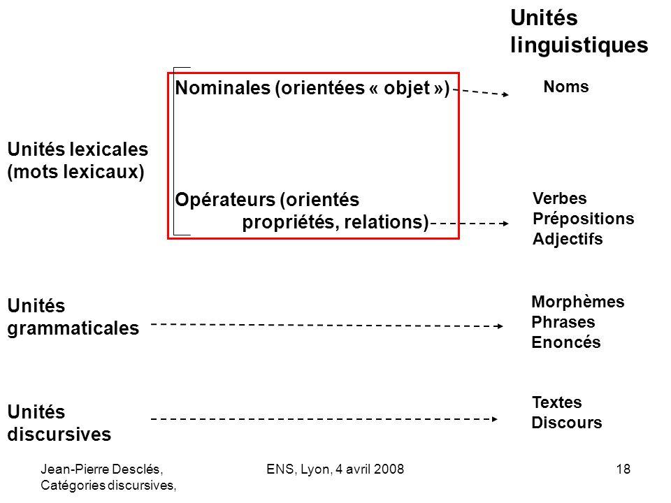 Jean-Pierre Desclés, Catégories discursives, ENS, Lyon, 4 avril 200818 Unités lexicales (mots lexicaux) Nominales (orientées « objet ») Opérateurs (or