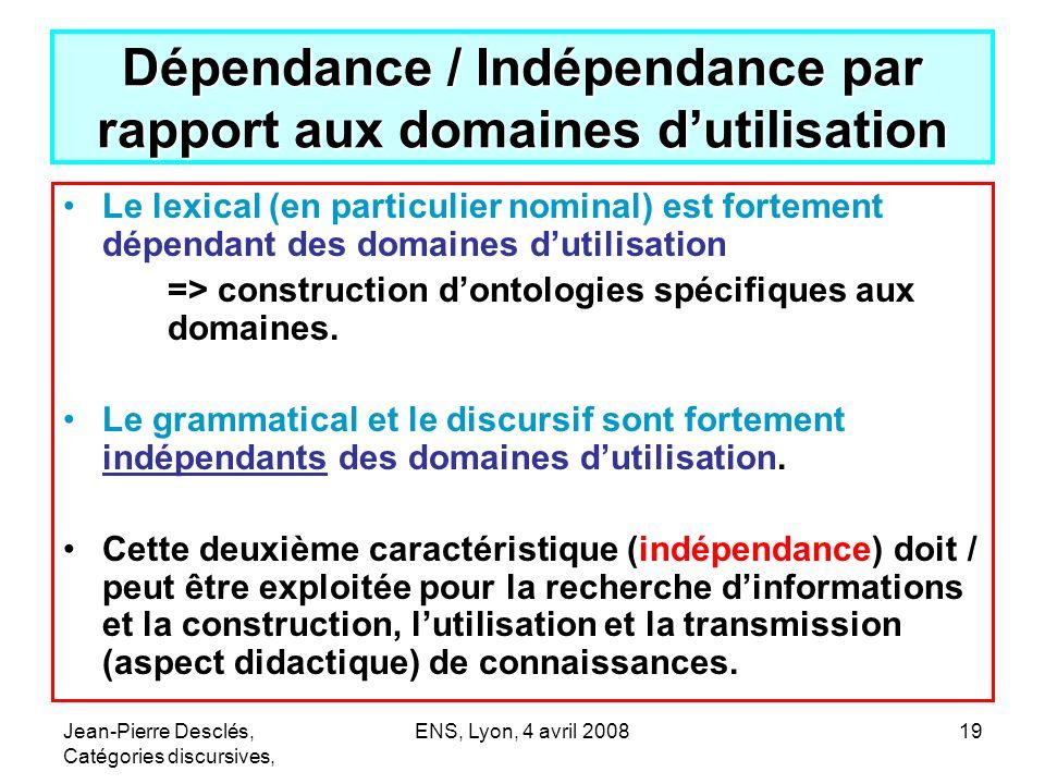 Jean-Pierre Desclés, Catégories discursives, ENS, Lyon, 4 avril 200819 Dépendance / Indépendance par rapport aux domaines dutilisation Le lexical (en