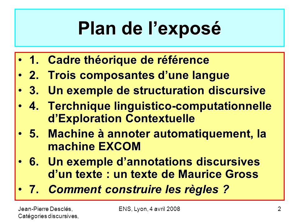 Jean-Pierre Desclés, Catégories discursives, ENS, Lyon, 4 avril 200823 Catégorie grammaticale (1)Paradigme de formes (conjugaisons, déclinaisons, oppositions formelles …) une forme grammaticale = marqueur dopérations (1)Carte (réseau) de concepts (opérateurs, traits …) (2)Relations (non biunivoques) entre (1) et (2) (3)Règles dexploration contextuelle (aspects discursifs)