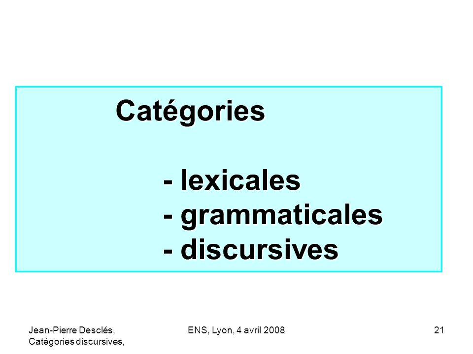 Jean-Pierre Desclés, Catégories discursives, ENS, Lyon, 4 avril 200821 Catégories - lexicales - grammaticales - discursives