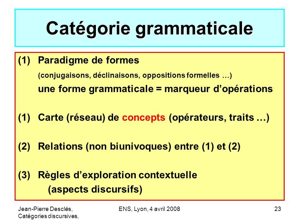 Jean-Pierre Desclés, Catégories discursives, ENS, Lyon, 4 avril 200823 Catégorie grammaticale (1)Paradigme de formes (conjugaisons, déclinaisons, oppo