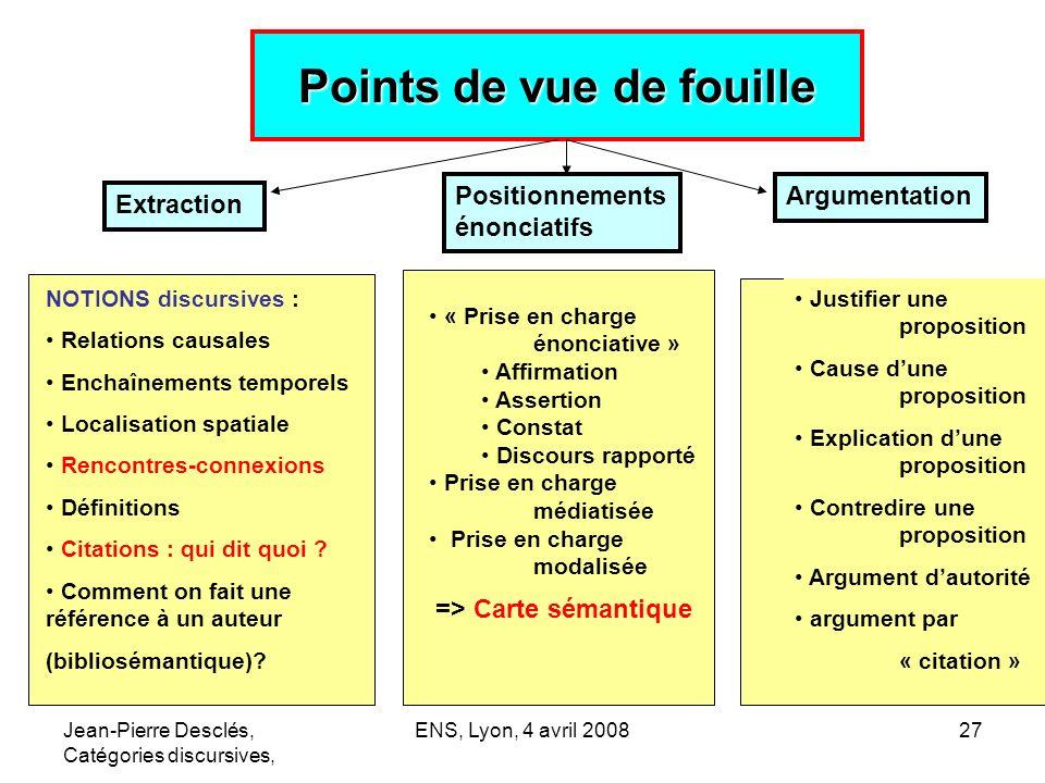Jean-Pierre Desclés, Catégories discursives, ENS, Lyon, 4 avril 200827 Points de vue de fouille NOTIONS discursives : Relations causales Enchaînements