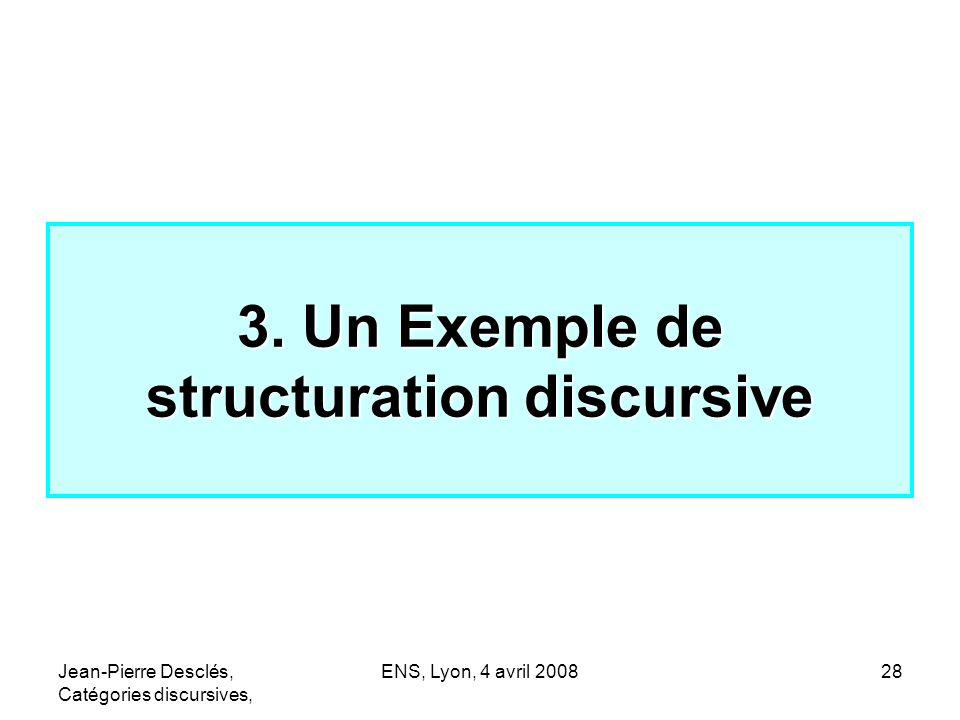 Jean-Pierre Desclés, Catégories discursives, ENS, Lyon, 4 avril 200828 3. Un Exemple de structuration discursive
