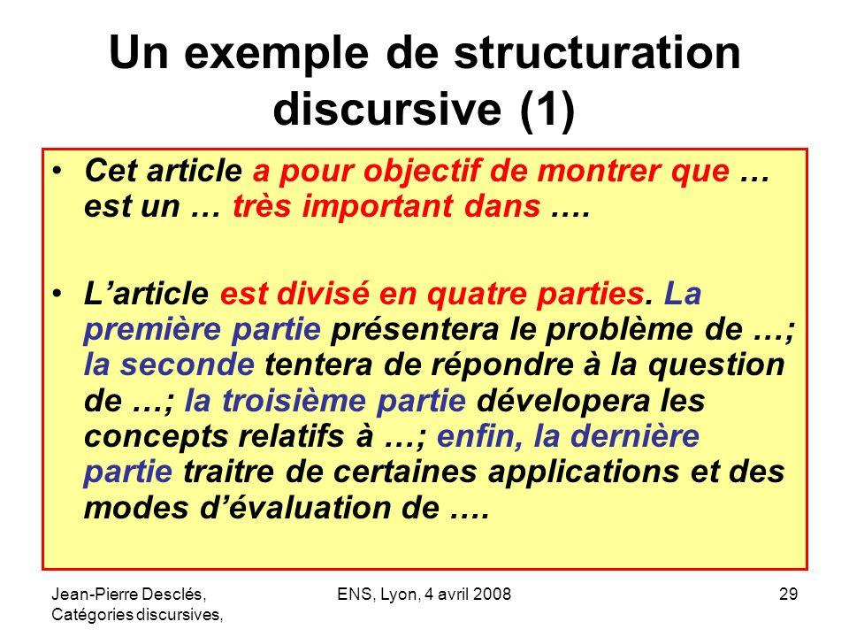 Jean-Pierre Desclés, Catégories discursives, ENS, Lyon, 4 avril 200829 Un exemple de structuration discursive (1) Cet article a pour objectif de montr