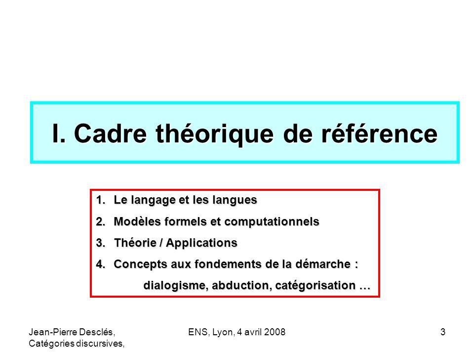 Jean-Pierre Desclés, Catégories discursives, ENS, Lyon, 4 avril 200824 Catégorie discursive (1)Instances = indicateurs formels de notions discursives => classes dindicateurs (2)« Cartes sémantiques » de notions (3)Relations (non biunivoques) entre (1) et (2) (4)Règles dexploration contextuelle