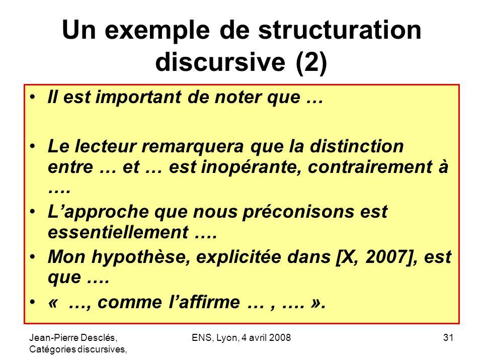 Jean-Pierre Desclés, Catégories discursives, ENS, Lyon, 4 avril 200831 Un exemple de structuration discursive (2) Il est important de noter que … Le l