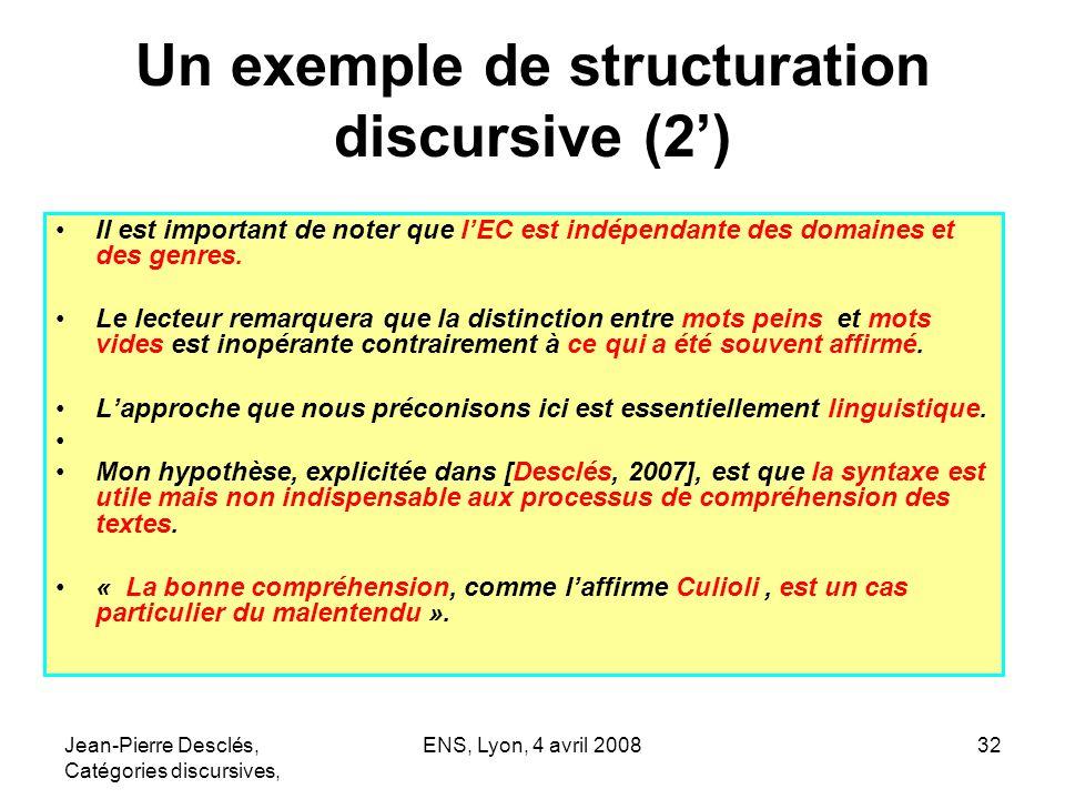 Jean-Pierre Desclés, Catégories discursives, ENS, Lyon, 4 avril 200832 Un exemple de structuration discursive (2) Il est important de noter que lEC es