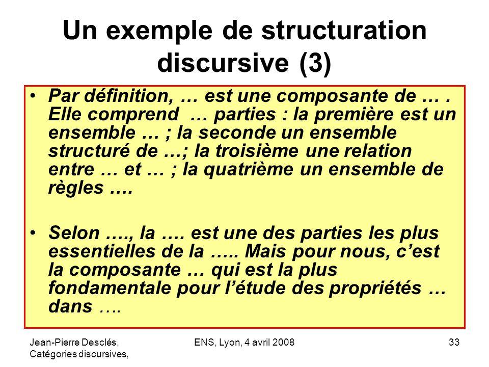 Jean-Pierre Desclés, Catégories discursives, ENS, Lyon, 4 avril 200833 Un exemple de structuration discursive (3) Par définition, … est une composante