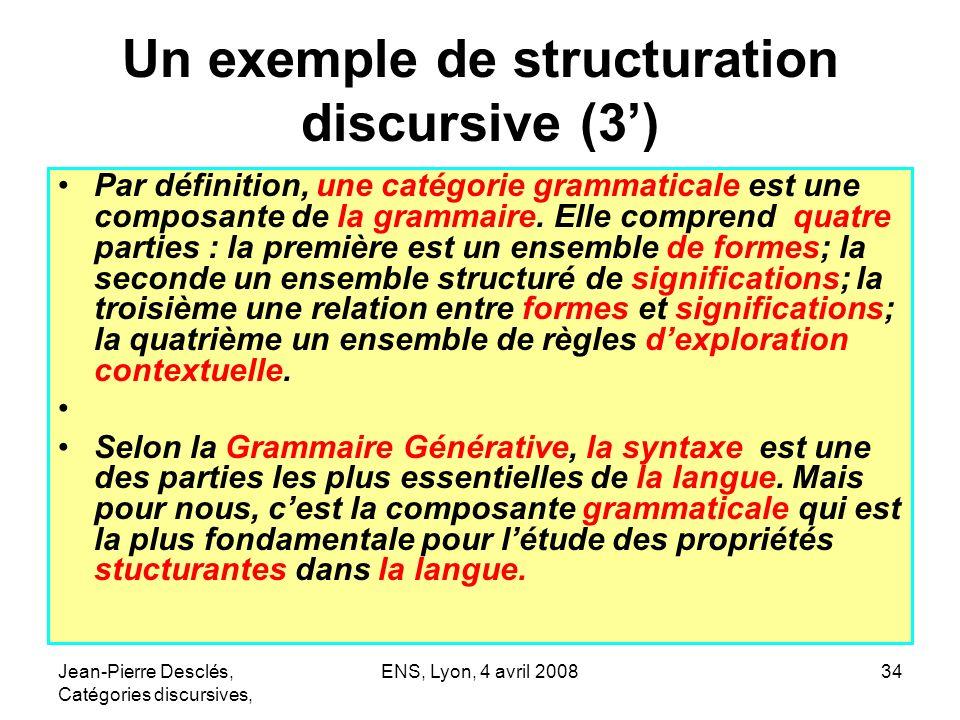 Jean-Pierre Desclés, Catégories discursives, ENS, Lyon, 4 avril 200834 Un exemple de structuration discursive (3) Par définition, une catégorie gramma