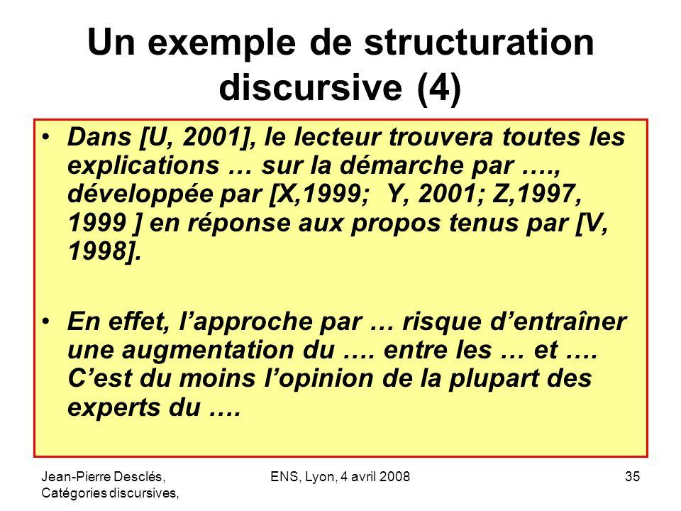 Jean-Pierre Desclés, Catégories discursives, ENS, Lyon, 4 avril 200835 Un exemple de structuration discursive (4) Dans [U, 2001], le lecteur trouvera