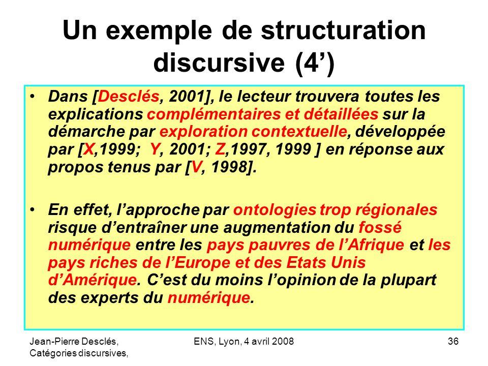 Jean-Pierre Desclés, Catégories discursives, ENS, Lyon, 4 avril 200836 Un exemple de structuration discursive (4) Dans [Desclés, 2001], le lecteur tro