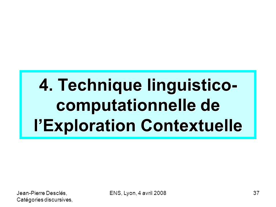 Jean-Pierre Desclés, Catégories discursives, ENS, Lyon, 4 avril 200837 4. Technique linguistico- computationnelle de lExploration Contextuelle