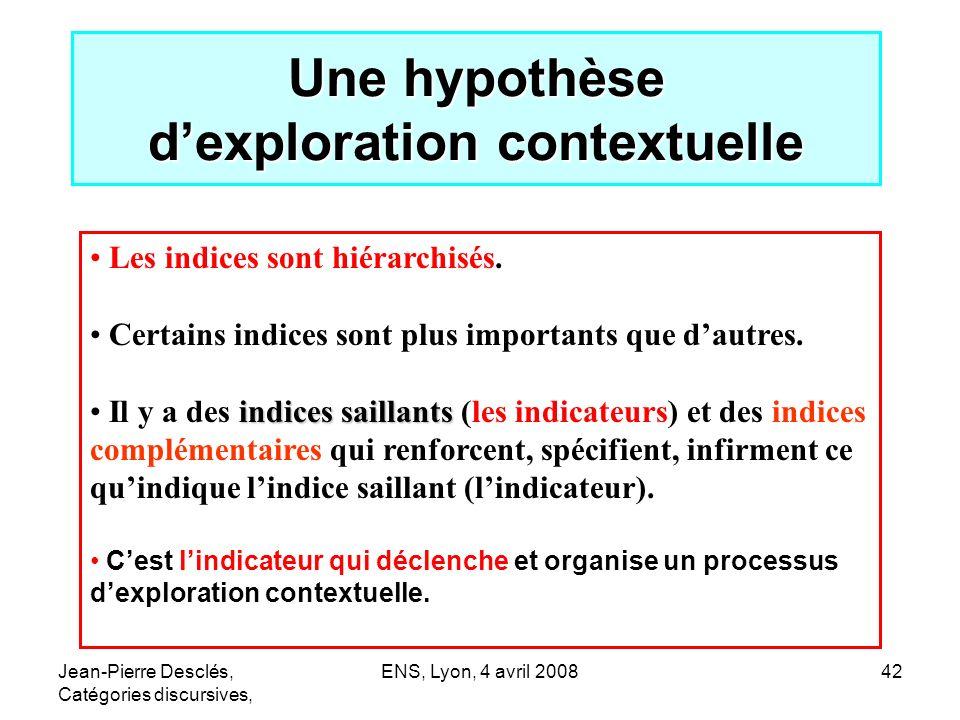 Jean-Pierre Desclés, Catégories discursives, ENS, Lyon, 4 avril 200842 Une hypothèse dexploration contextuelle Les indices sont hiérarchisés. Certains