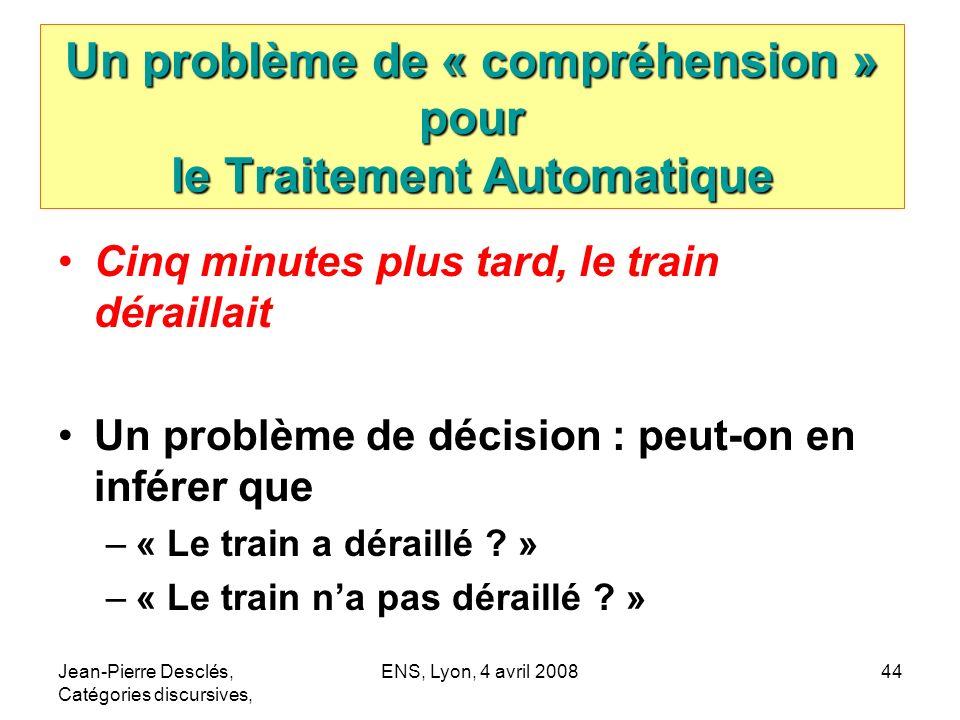 Jean-Pierre Desclés, Catégories discursives, ENS, Lyon, 4 avril 200844 Un problème de « compréhension » pour le Traitement Automatique Cinq minutes pl