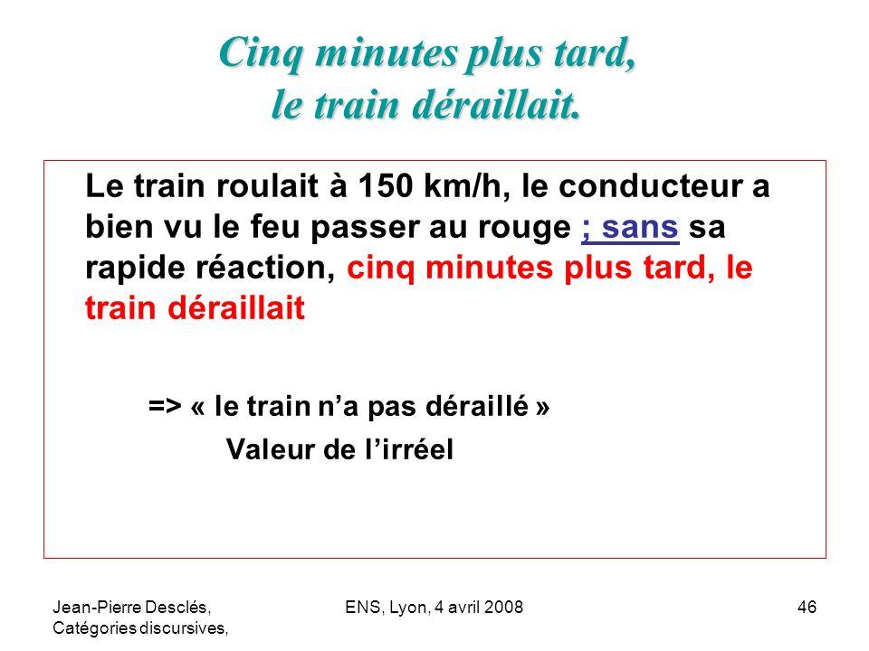 Jean-Pierre Desclés, Catégories discursives, ENS, Lyon, 4 avril 200846 Le train roulait à 150 km/h, le conducteur a bien vu le feu passer au rouge ; s
