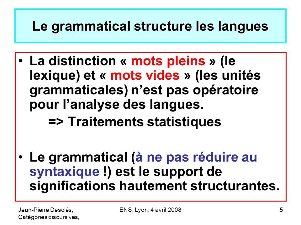 Jean-Pierre Desclés, Catégories discursives, ENS, Lyon, 4 avril 20085 Le grammatical structure les langues La distinction « mots pleins » (le lexique)
