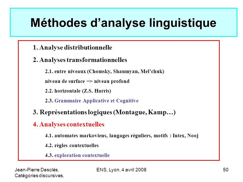 Jean-Pierre Desclés, Catégories discursives, ENS, Lyon, 4 avril 200850 Méthodes danalyse linguistique 1. Analyse distributionnelle 2. Analyses transfo