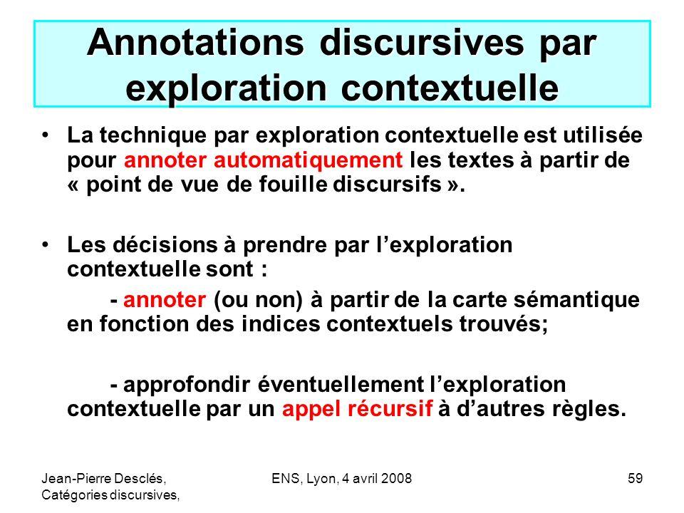 Jean-Pierre Desclés, Catégories discursives, ENS, Lyon, 4 avril 200859 Annotations discursives par exploration contextuelle La technique par explorati