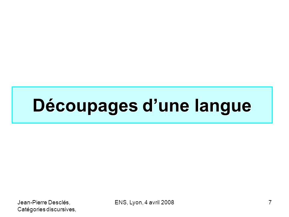 Jean-Pierre Desclés, Catégories discursives, ENS, Lyon, 4 avril 200838 Abduction : remonter vers une hypothèse plausible HYPOTHESE : p Indice q1 Indice q2 Indice q3Indice q4 Les indices q1,q2,q3,q4 sont en faveur de lhypothèse p : Si p => q1, q2, q3, q4 or q1,q2,q3,q4 --------------------------------- lhypothèse p est plausible