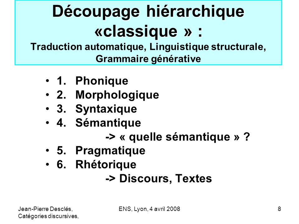 Jean-Pierre Desclés, Catégories discursives, ENS, Lyon, 4 avril 20088 Découpage hiérarchique «classique » : Découpage hiérarchique «classique » : Trad