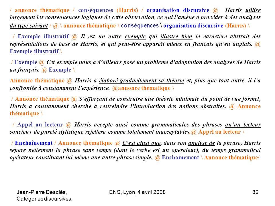 Jean-Pierre Desclés, Catégories discursives, ENS, Lyon, 4 avril 200882 / annonce thématique / conséquences (Harris) / organisation discursive @ Harris