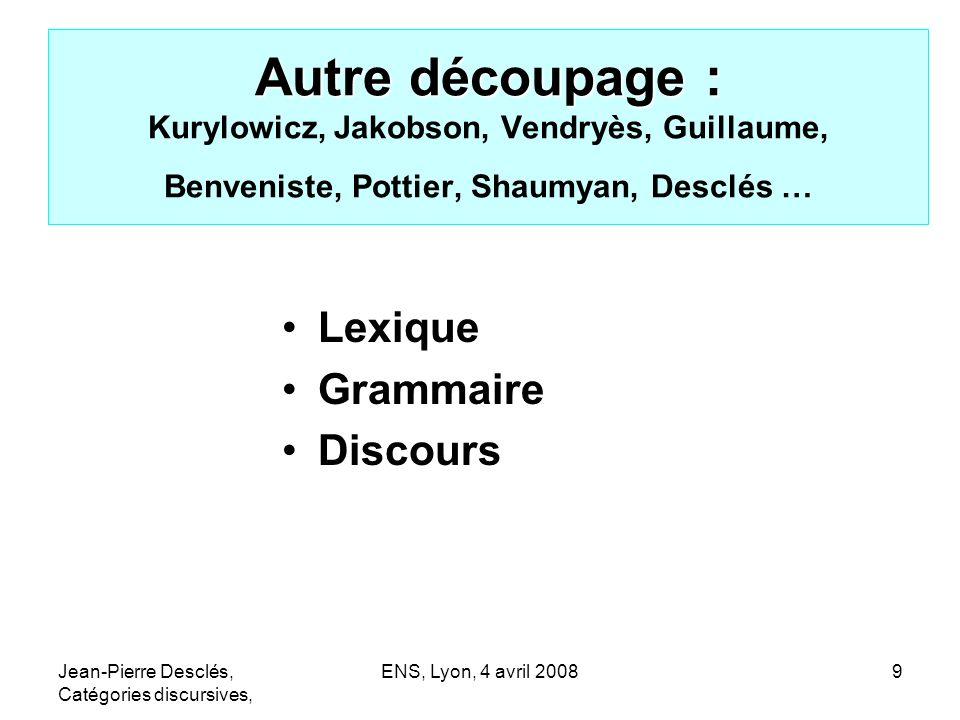 Jean-Pierre Desclés, Catégories discursives, ENS, Lyon, 4 avril 200810 Interactions entre découpages 1.Morphologie 2.Syntaxe 3.Sémantique 4.Pragmatique (énonciation) Lexique Grammaire Discours