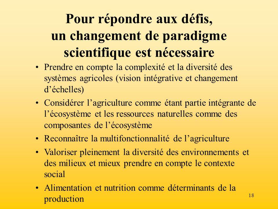 18 Pour répondre aux défis, un changement de paradigme scientifique est nécessaire Prendre en compte la complexité et la diversité des systèmes agrico