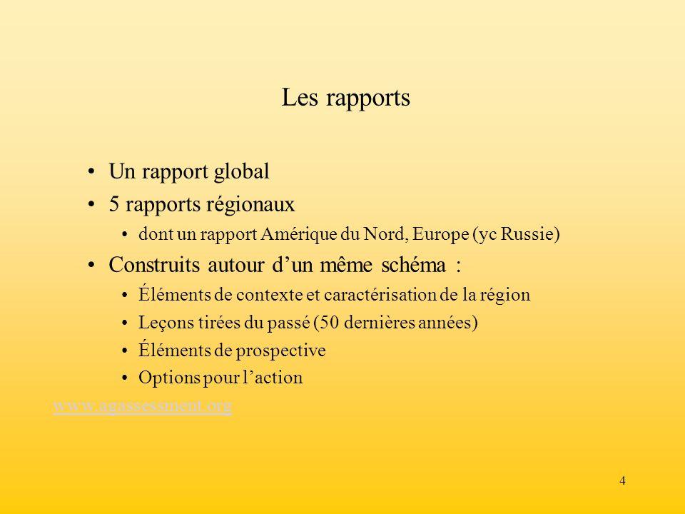 4 Les rapports Un rapport global 5 rapports régionaux dont un rapport Amérique du Nord, Europe (yc Russie) Construits autour dun même schéma : Élément