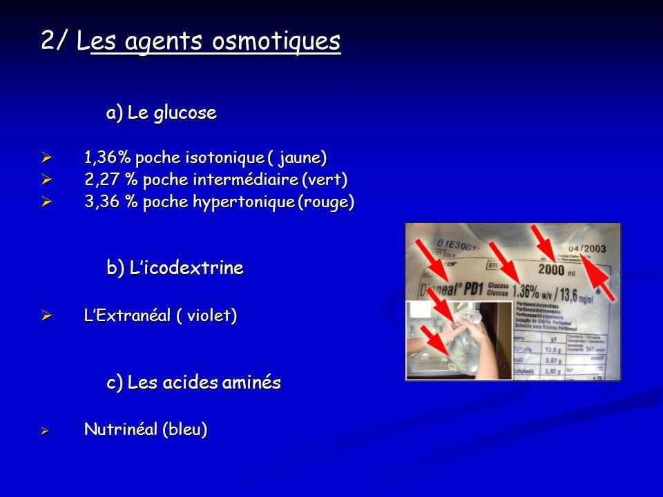 2/ Les agents osmotiques a) Le glucose 1,36% poche isotonique ( jaune) 1,36% poche isotonique ( jaune) 2,27 % poche intermédiaire (vert) 2,27 % poche