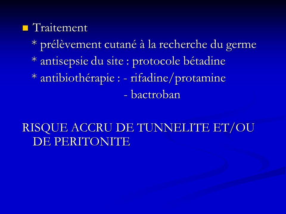 Traitement Traitement * prélèvement cutané à la recherche du germe * prélèvement cutané à la recherche du germe * antisepsie du site : protocole bétad