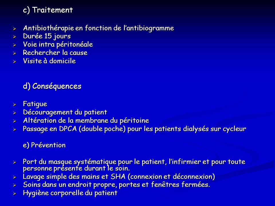 c) Traitement Antibiothérapie en fonction de lantibiogramme Antibiothérapie en fonction de lantibiogramme Durée 15 jours Durée 15 jours Voie intra pér