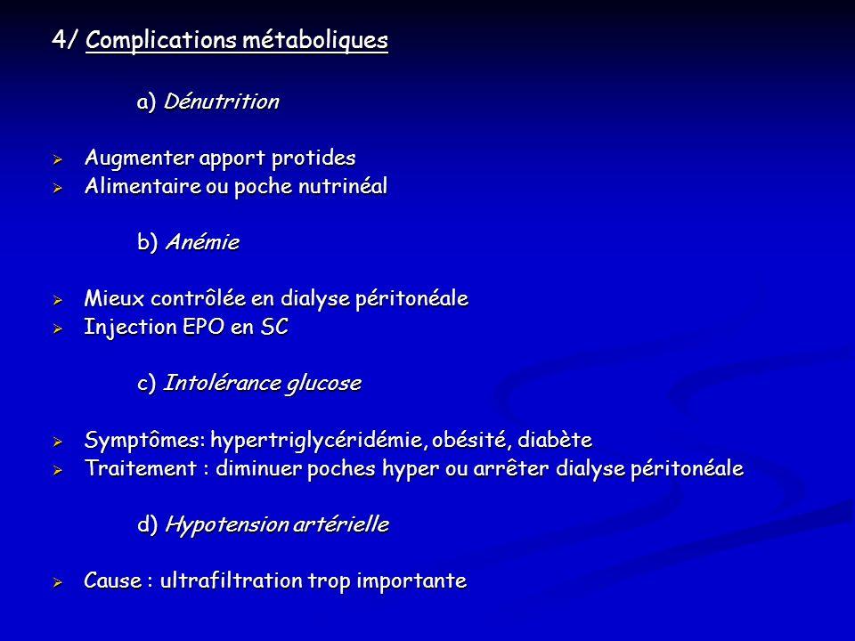 4/ Complications métaboliques a) Dénutrition Augmenter apport protides Augmenter apport protides Alimentaire ou poche nutrinéal Alimentaire ou poche n